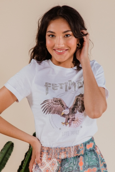Shirt eagle print wit