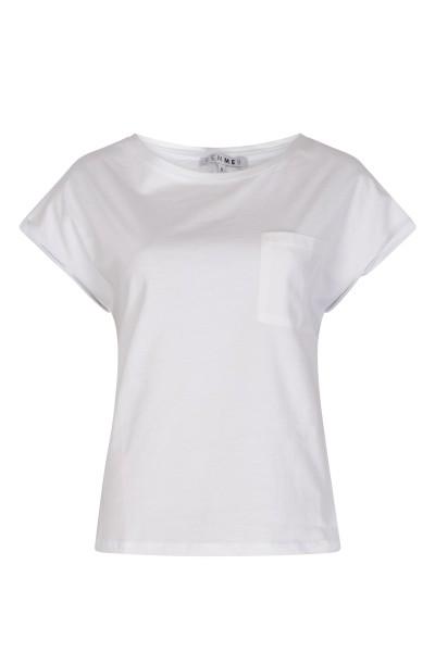 Uni wit glans borstzakje korte mouw  wit