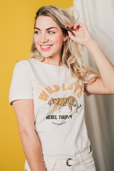 Wild Love tijger korte mouw  wit