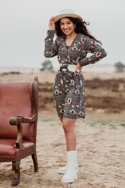 jurk print met riem multi