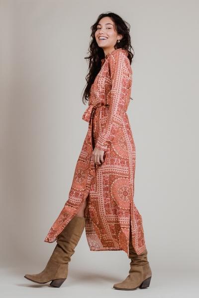 Lange jurk print met strik multi