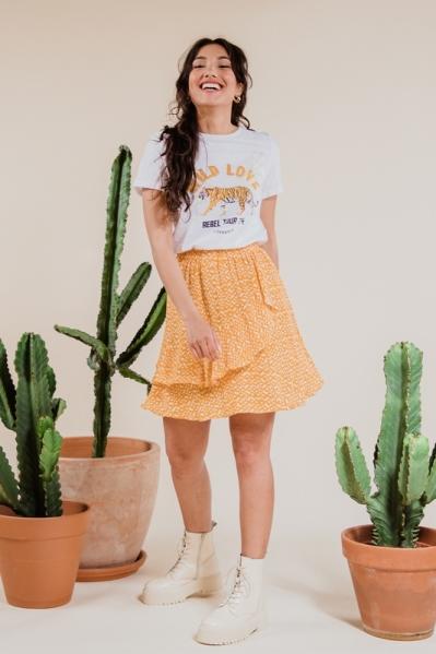 Rok elastische band met print geel