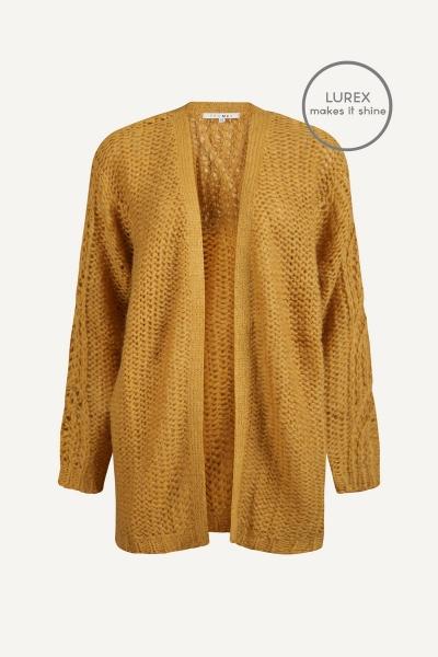 Long sleeve heavy ajour knit cardigan lurex oker