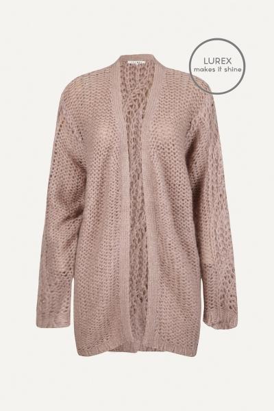 Long sleeve heavy ajour knit cardigan lurex paars