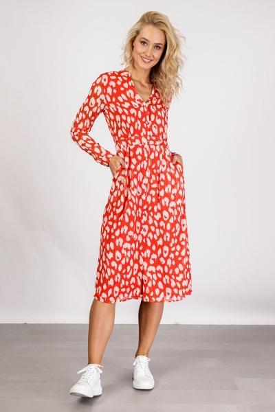 Midi dress long sleeve oranje