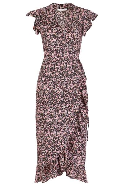 Midi dress short sleeve rose