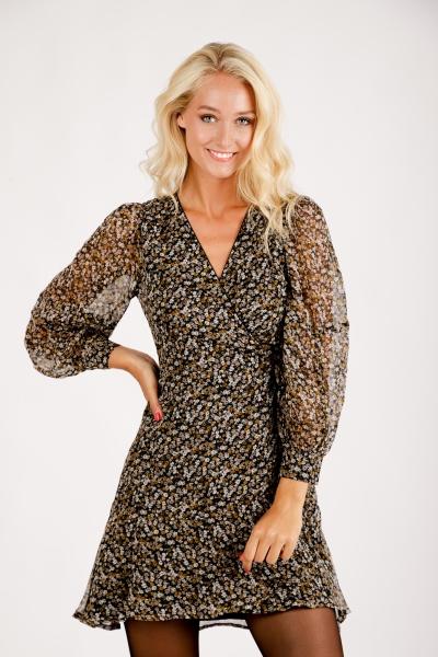Midi dress long sleeve beige