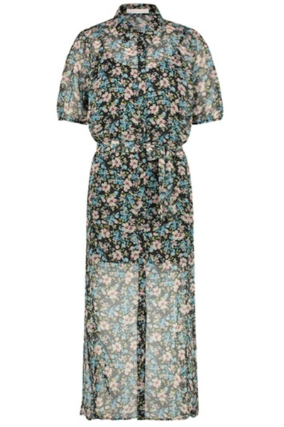 Midi dress short sleeve blauw