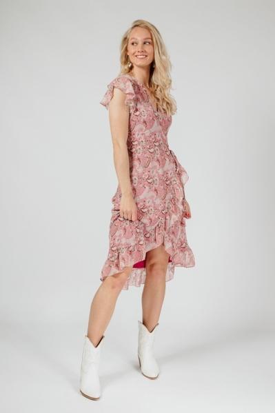 Midi dress short sleeve bordeauxrood