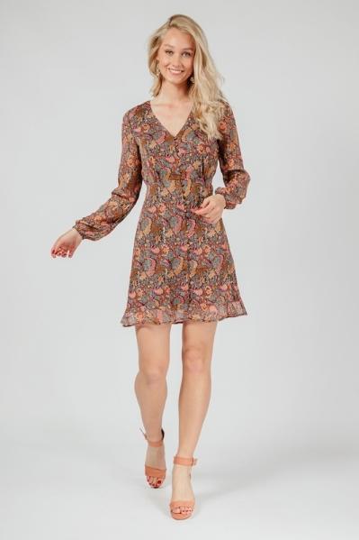 Mini dress long sleeve goud