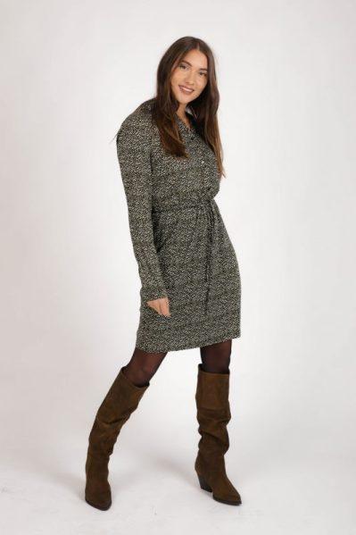 Mini dress long sleeve olijf