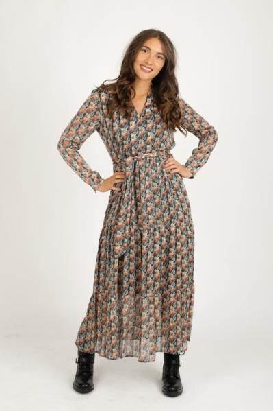 Maxi dress long sleeve felgroen