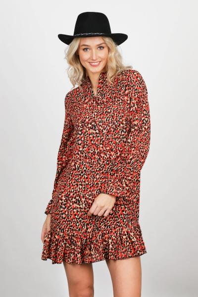 Mini dress long sleeve oranje