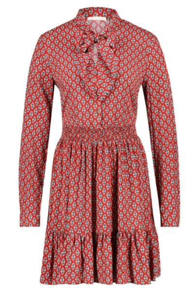 Mini dress long sleeve rood