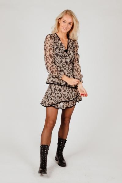 Mini dress long sleeve zwart