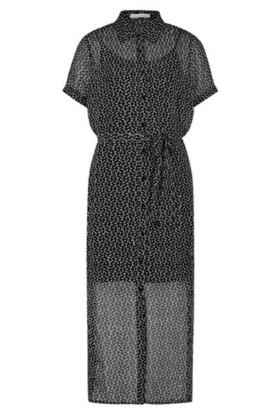 Midi dress short sleeve zwart