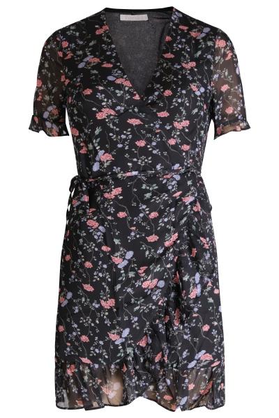 Mini dress short sleeve zwart