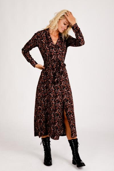 Maxi dress long sleeve paisley zwart