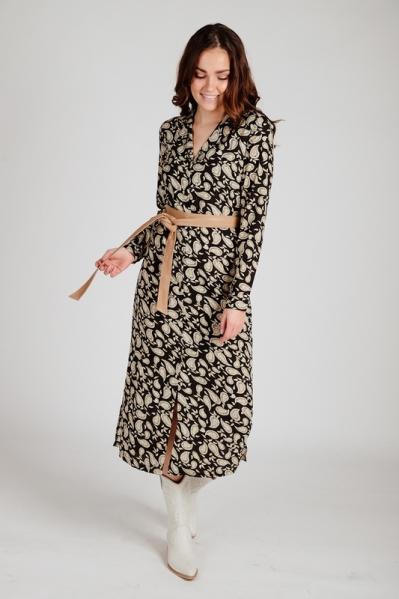 Midi dress long sleeve zwart