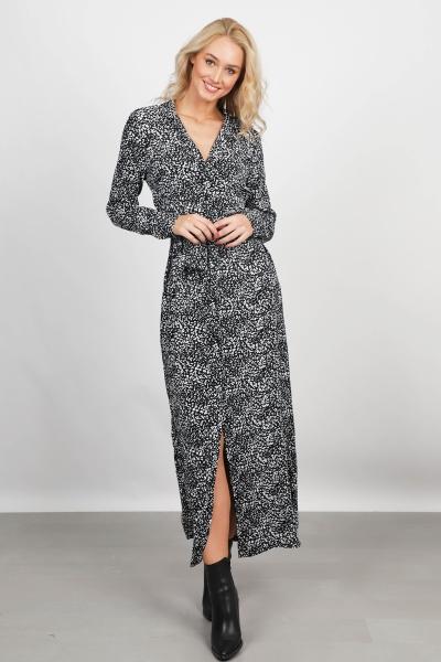 Maxi dress long sleeve zwart