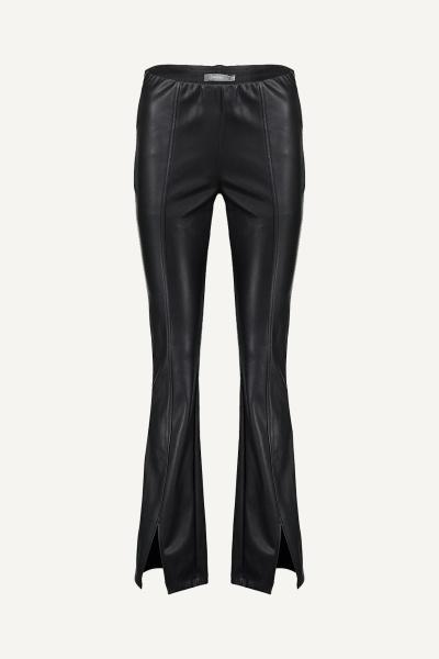 Pants pu flair zwart