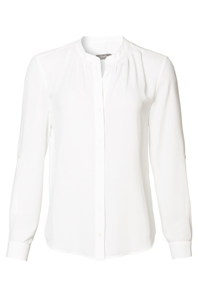 Blouse solid with smock detail off white