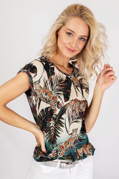 Top raschel lace at back s/s multi