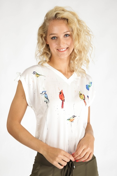 Top V neck birds s/s wit