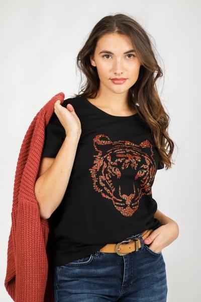 T-shirt tiger head s/s zwart