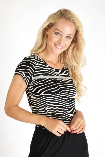 Top zebra round neck s/s zwart