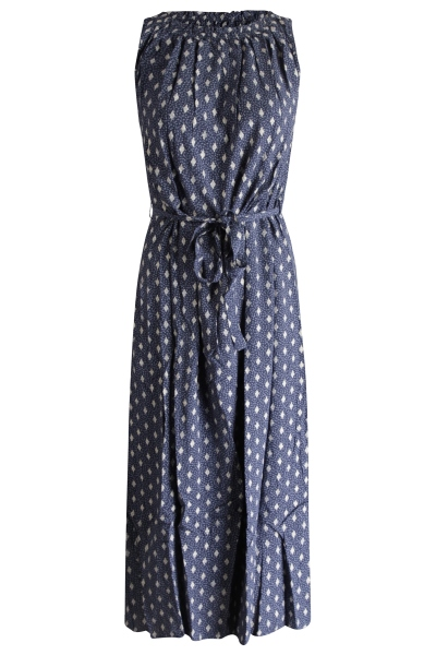 Dress foil print r neck sleeveless blauw
