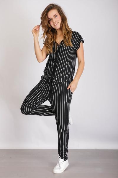 Jumpsuit striped zwart