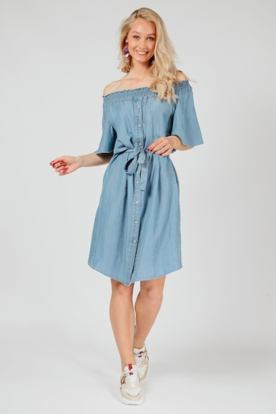 Dress buttons lyocell blauw