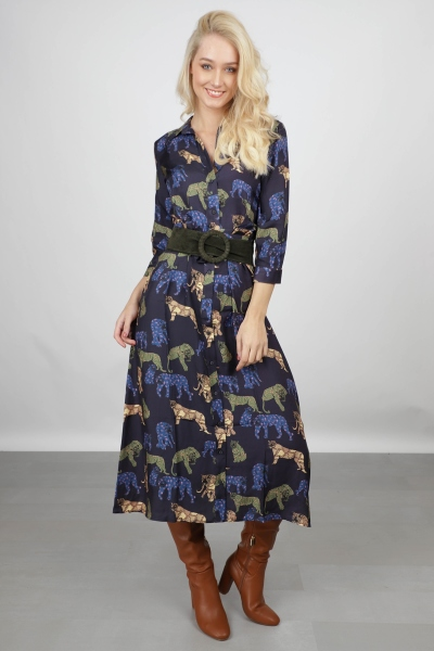 Maxi dress AOP with leopards blauw