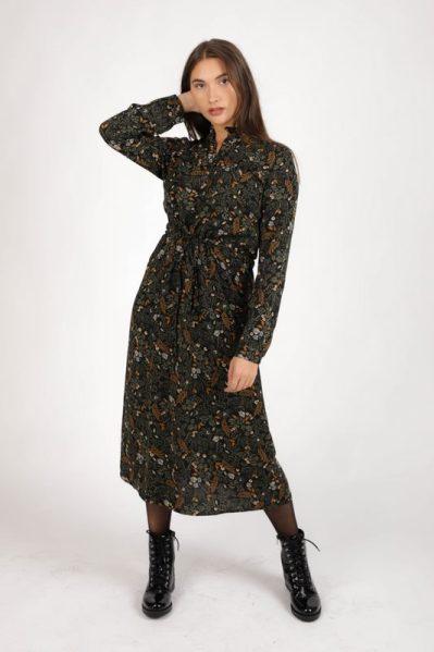 Dress long leaves&flowers&ruffles zwart