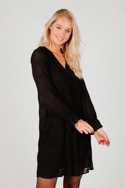 Dress irregulair plisse zwart