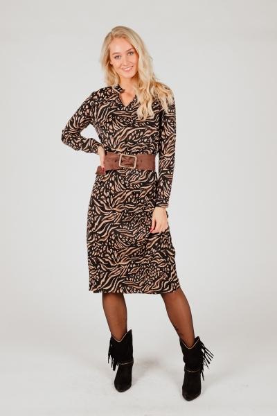 Dress animal print & ruffles zwart