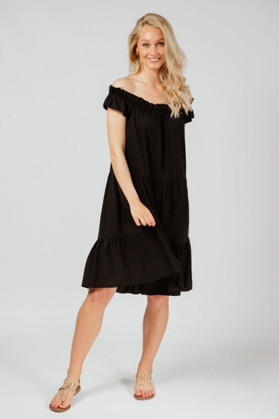 Dress tappered & elastic neck zwart