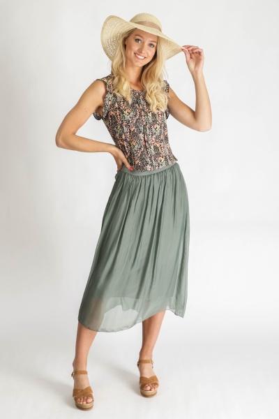 Skirt silk with elastic waist army