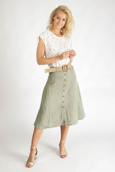 Skirt Long with belt/buttons army