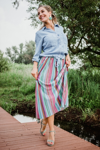 Skirt multi stripes multi