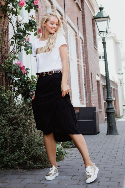 Skirt 3/4 solid zwart