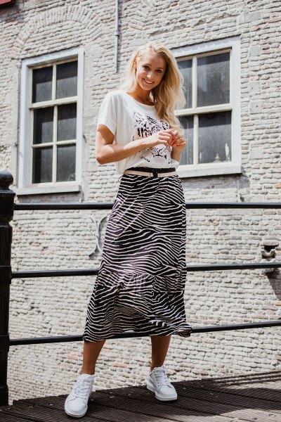 Skirt 3/4 zebra zwart