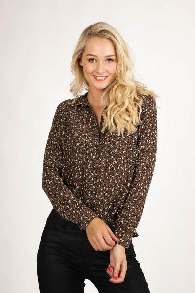 Blouse minimal leopard l/s taupe