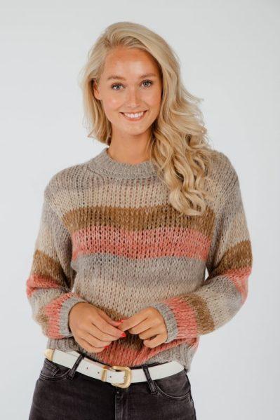 Pullover striped grijs / antraciet