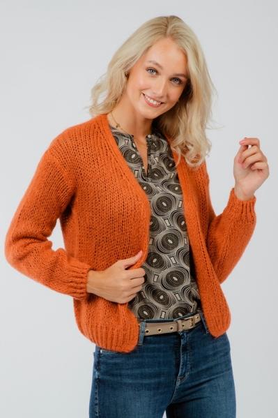Cardigan solid oranje