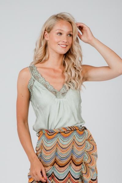 Le Ballon Shirt / Top Groen Hemdje satijn