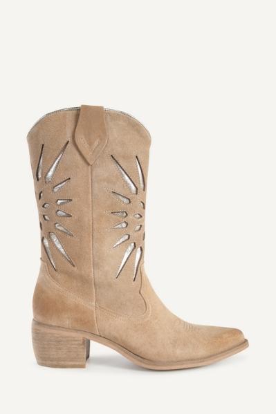 Shoecolate Cowboylaarzen plat Zand 8.20.08.036