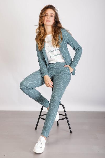 Blue stippen wit broek tricot  bleu \ crystal