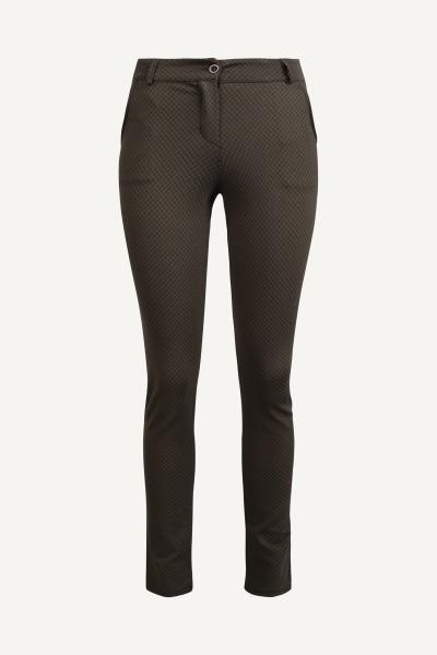 Stretch pantalon wiebertje zwart/army + ceintuur  army